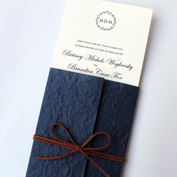 Navy Blue Wedding Invitations Pocket Invitation Cards Picky Bride
