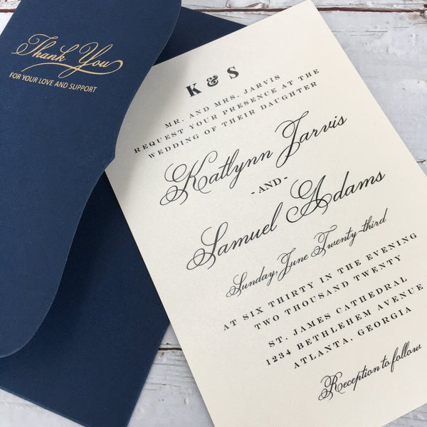 Navy Blue Wedding Invitations Set Pocket Invitation for Wedding Picky Bride