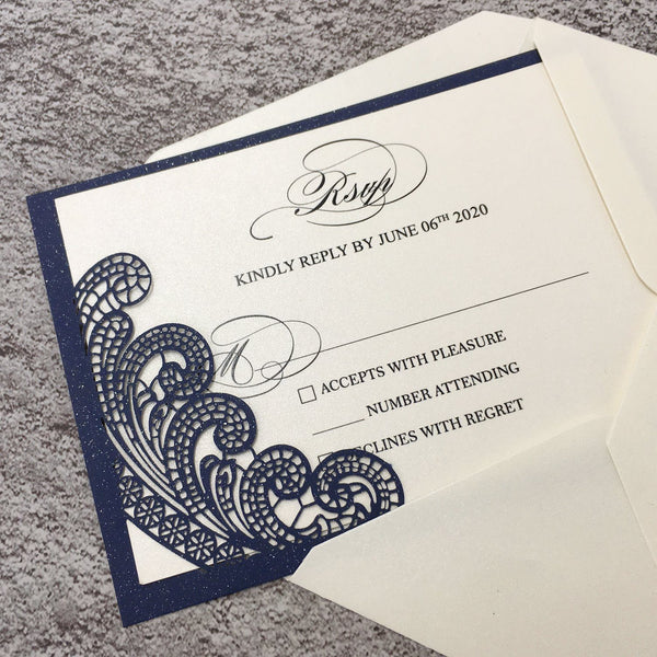 Navy Blue Wedding Invitations with RSVP Business Invitations Picky Bride