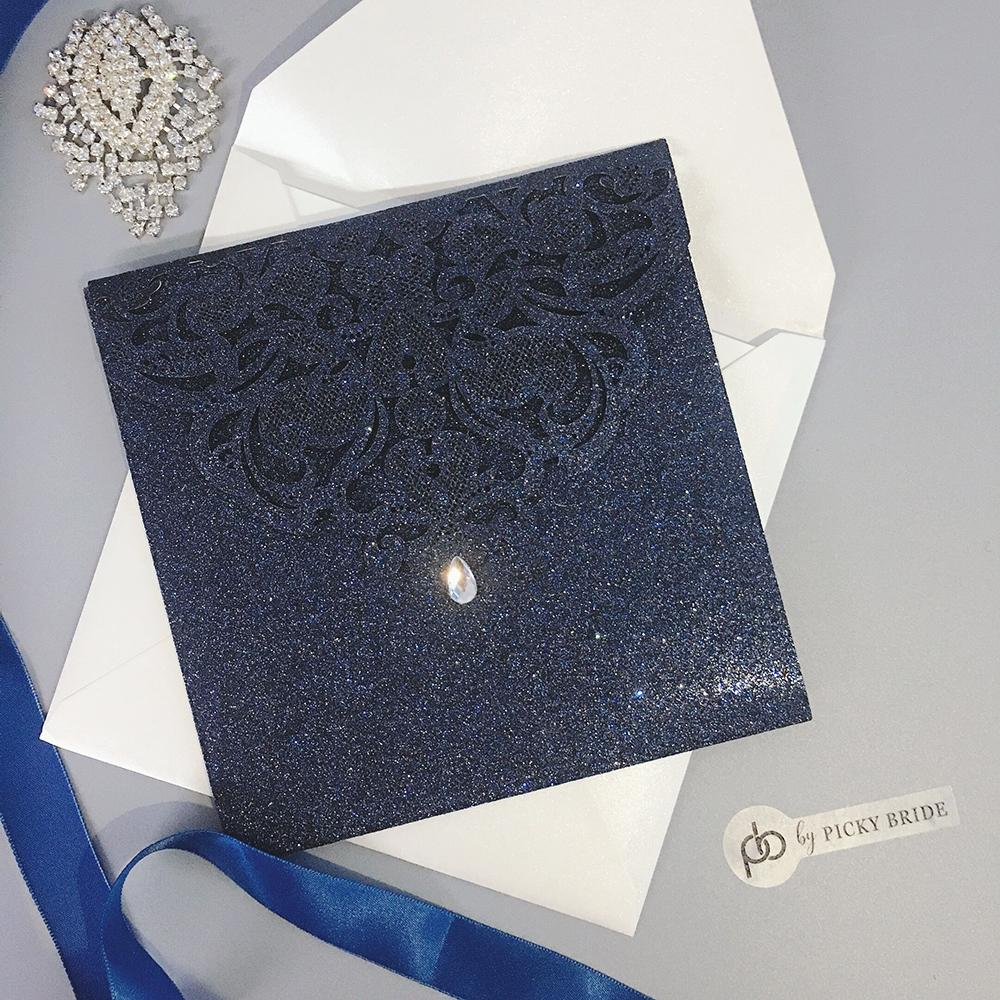 Navy Glitter Laser Cut Wedding Invitation Set Luxury Wedding Theme Picky Bride