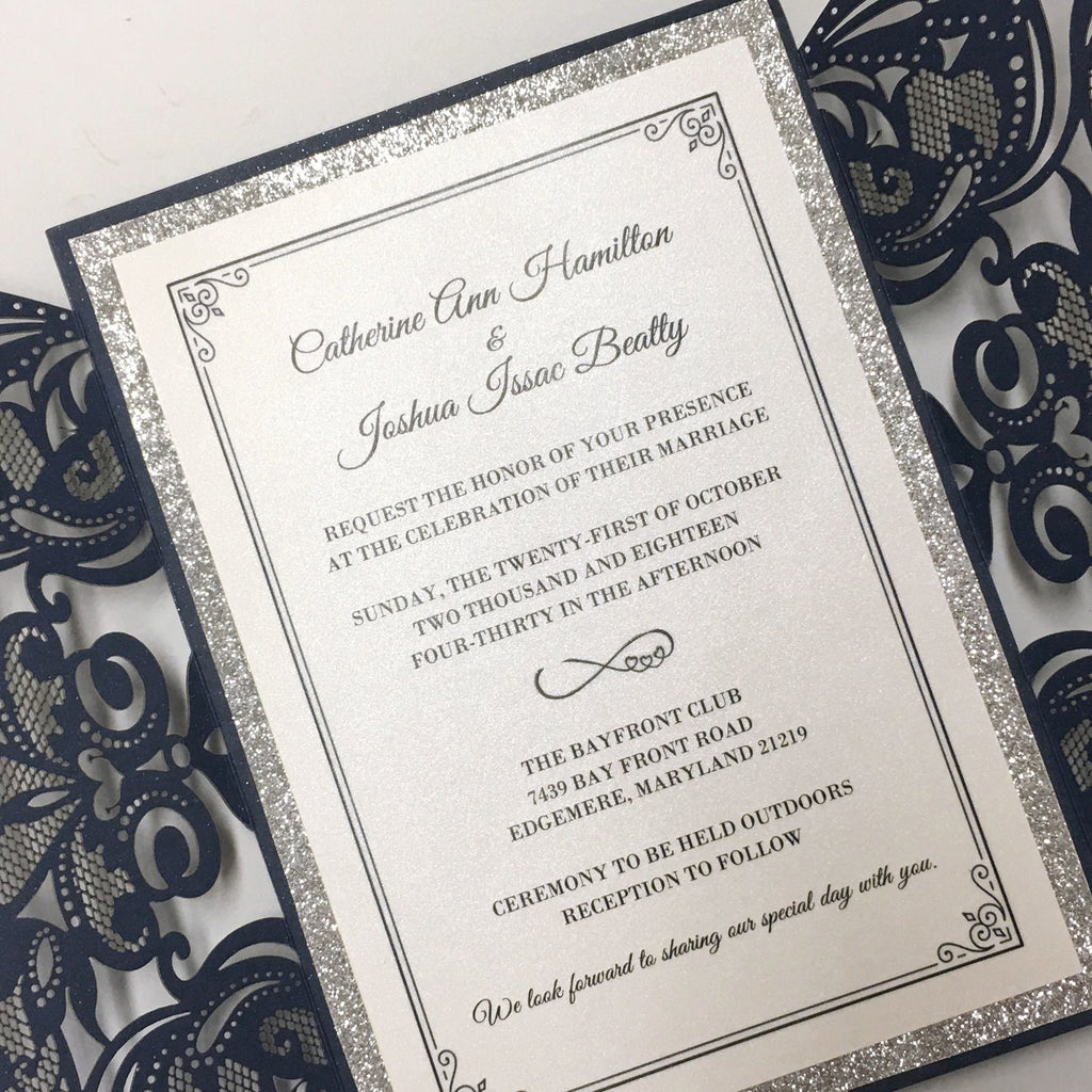 Navy Luxury Wedding Cards Invitations with Ribbon Bow Picky Bride
