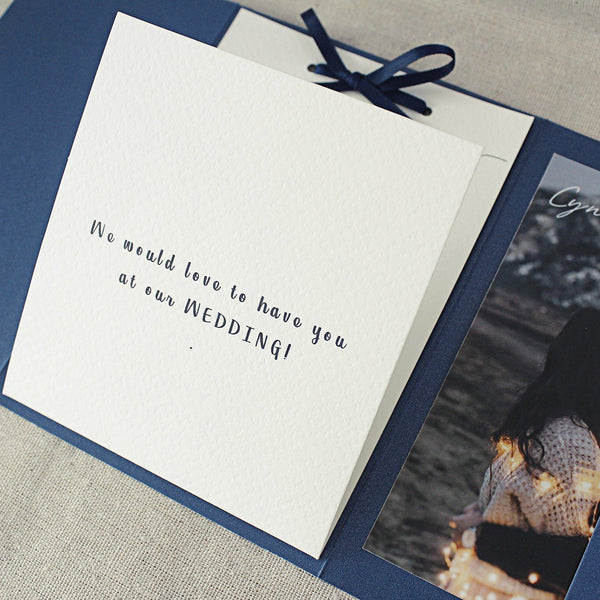 Navy Pocket Wedding Invitation , Classic Pocket Fold Invite Cards, Photo Cards & Vellum Belly Band Picky Bride