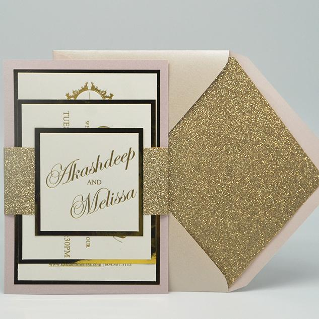 Personalized White and Gold Foil Wedding Invitations Set, Metallic Wedding Invitations, Mirror Invitations, Bling Wedding Invites Picky Bride