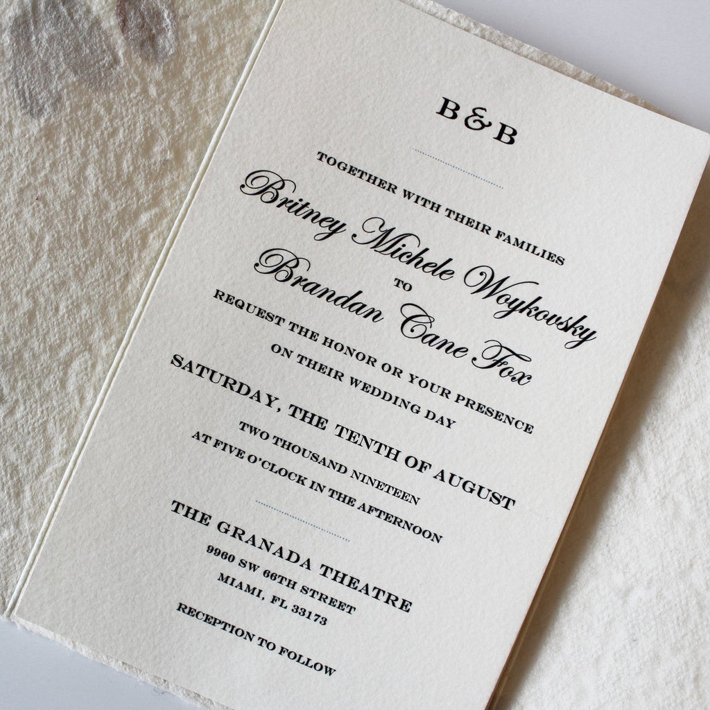 Petal and Leaf Handmade Paper Wedding Invitations Bohemian Invited Rustic Wedding Picky Bride
