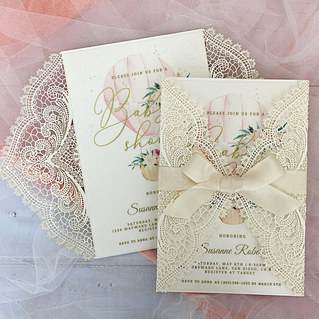 Picky Bride Baby Shower Invitations, Hot Air Balloon Flowers with Envelopes, 5x7 Cards, Perfect for Baby Boys and Baby Girls Picky Bride