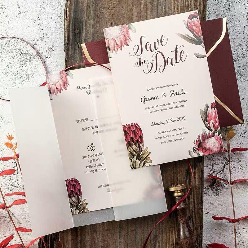 Picky Bride Burgundy Wedding Invitations Floral Invitation Cards with Vellum Paper Wrap Picky Bride