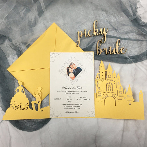 Picky Bride Castle Wedding Invitation Yellow Gold Wedding Invitations with Bride & Groom Picky Bride