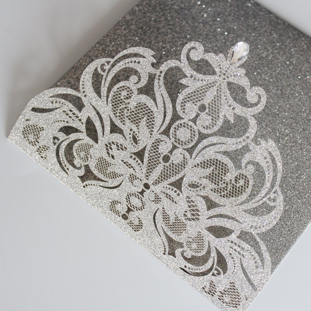 Picky Bride Elegant Glitter Silver Laser Cut Wedding Invitations with RSVP Cards Picky Bride