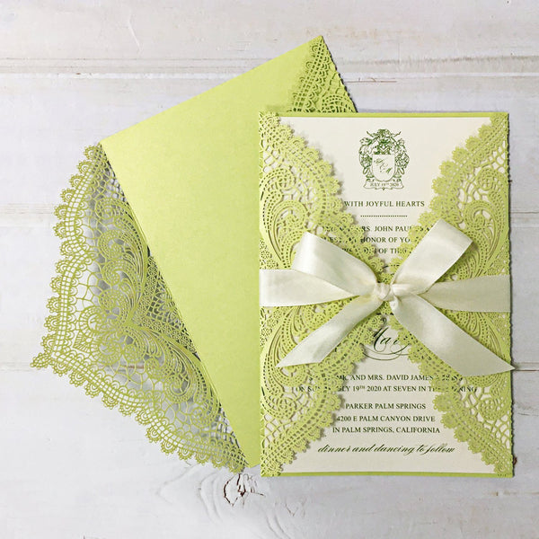 Picky Bride Elegant Wedding Invitations Cards Green Fresh Laser Cut Invitations with Envelopes Picky Bride