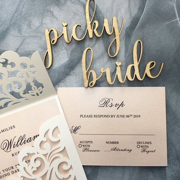 Picky Bride Elegant Wedding Invitations Cards Ivory Laser Cut Invitations with Blush Pink Shimmer Insert Picky Bride
