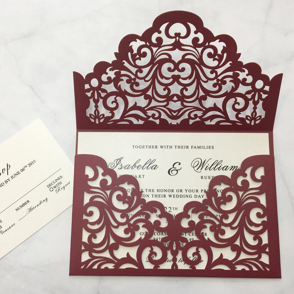 Picky Bride Elegant Wedding Invitations Cards Ivory Laser Cut Invitations with Blush Pink Shimmer Insert Picky Bride Burgundy 30 x $3.5 ea.