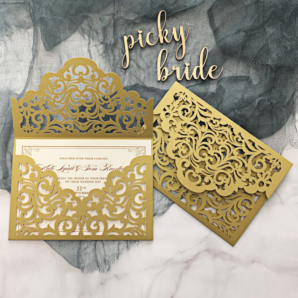 Picky Bride Elegant Wedding Invitations Cards Ivory Laser Cut Invitations with Blush Pink Shimmer Insert Picky Bride Gold 30 x $3.5 ea.