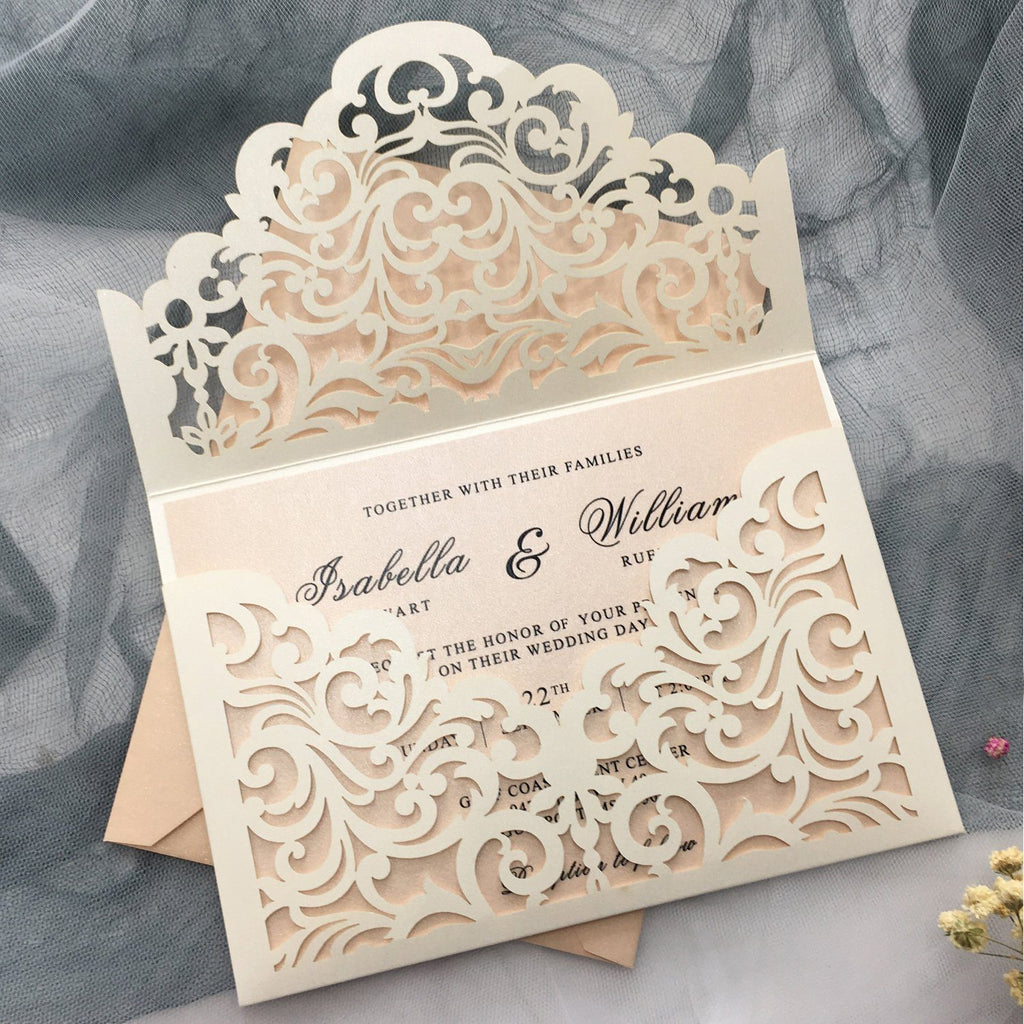 Picky Bride Elegant Wedding Invitations Cards Ivory Laser Cut Invitations with Blush Pink Shimmer Insert Picky Bride Ivory 1 Sample