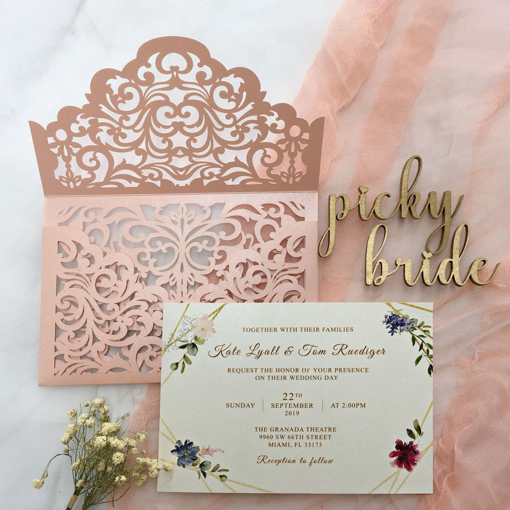 Picky Bride Elegant Wedding Invitations Cards Ivory Laser Cut Invitations with Blush Pink Shimmer Insert Picky Bride Pink 30 x $3.5 ea.