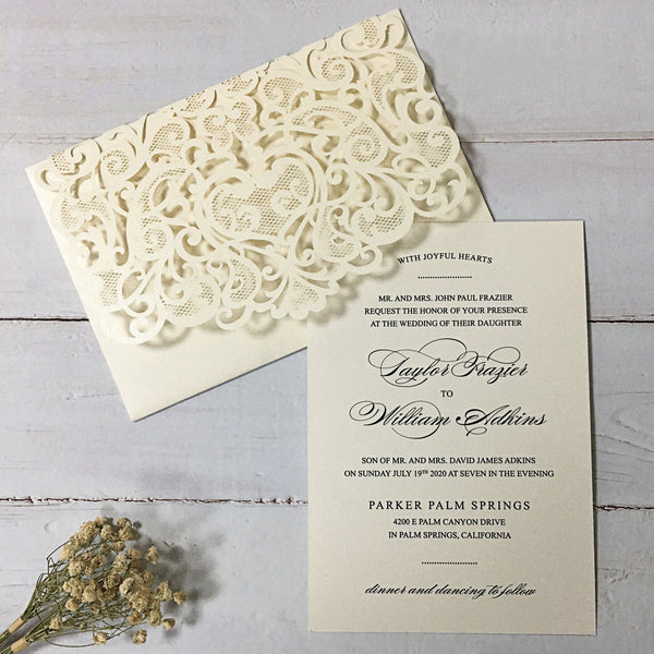 Picky Bride Elegant Wedding Invitations White Invitation Pockets with RSVP Cards Picky Bride