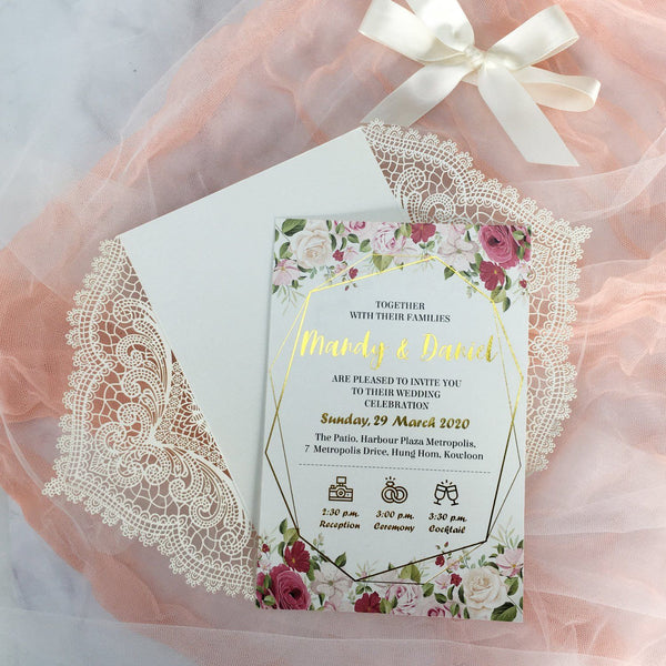 Picky Bride Gold Foil Wedding Invitation White Lace Hot Gold Stamping Invitation cards Picky Bride