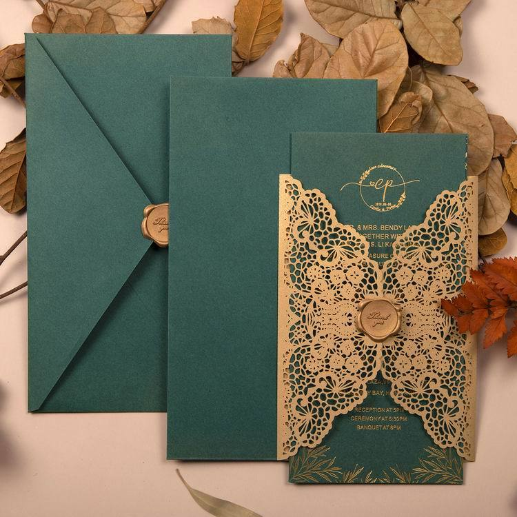 Picky Bride Gold Laser Cut Invitations Foil Printing Wedding Invite with Jungle Green Envelope Picky Bride