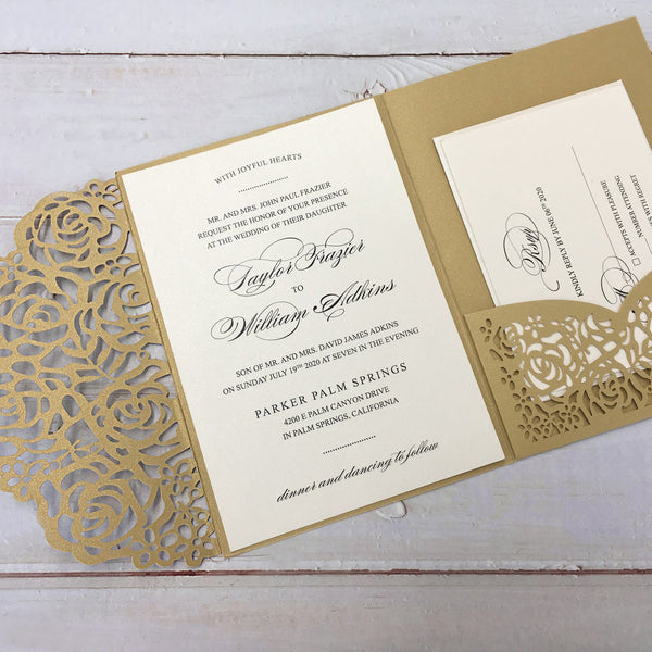 Picky Bride Gold Wedding Invitations Laser Cut Invitations With RSVP Cards Picky Bride