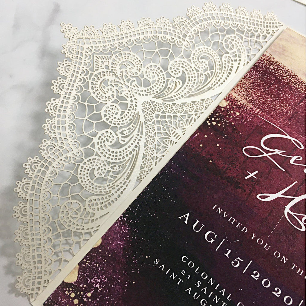 Picky Bride Lace Wedding Invitation with RSVP and Envelopes Elegant Wedding Invite Picky Bride