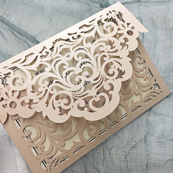 Picky Bride Laser Cut Pocket Wedding Invitations Lace Invitations Elegant Invite Cards for Wedding Picky Bride