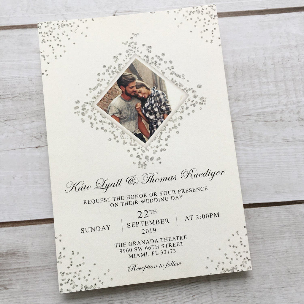 Picky Bride Laser Cut Silver Grey Wedding Invitations with Ribbon Bow Picky Bride