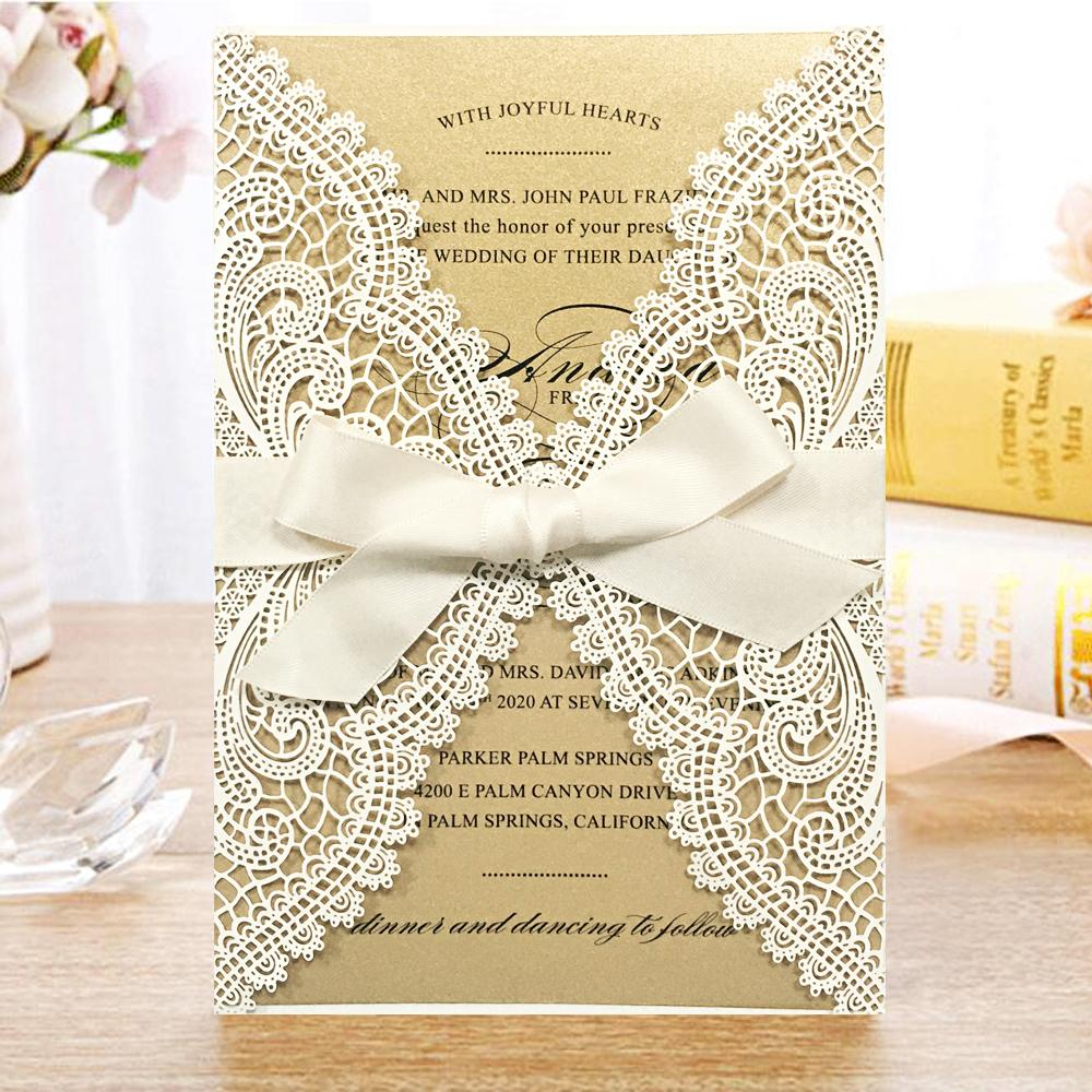 Picky Bride Laser Cut Wedding Invitations Pearl Paper Invitations White Lace Wedding Invitation With RSVP Picky Bride
