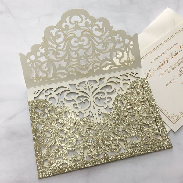 Picky Bride Luxury Glitter Gold Wedding Invitations Laser Cutting Invitation Cards With Envelope Picky Bride