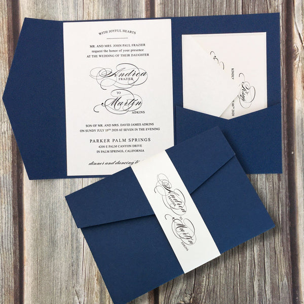 Picky Bride Navy Blue Pocket Wedding Invitations, Folded Invite Picky Bride