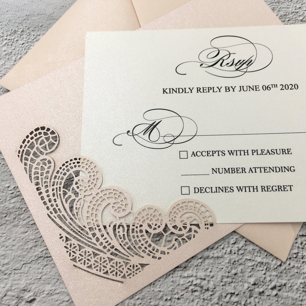 Picky Bride Pale Pink Wedding Invitations Laser Cut Invitations with Ivory Shimmer Insert Picky Bride