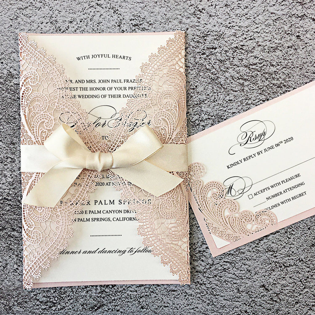 Picky Bride Pale Pink Wedding Invitations Laser Cut Invitations with Ivory Shimmer Insert Picky Bride Invitations + RSVP 30 x $3.8 ea.