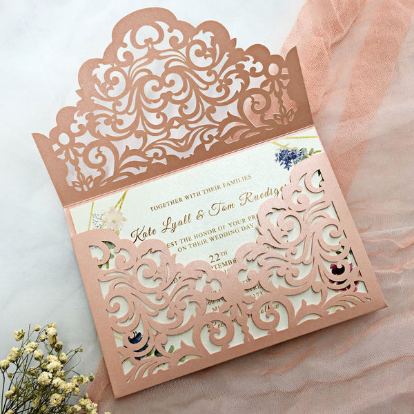 Picky Bride Pink Wedding Invitations Pocket Invitations With RSVP Elegant Wedding Invite Cards Picky Bride Pink 30 x $3.5 ea.