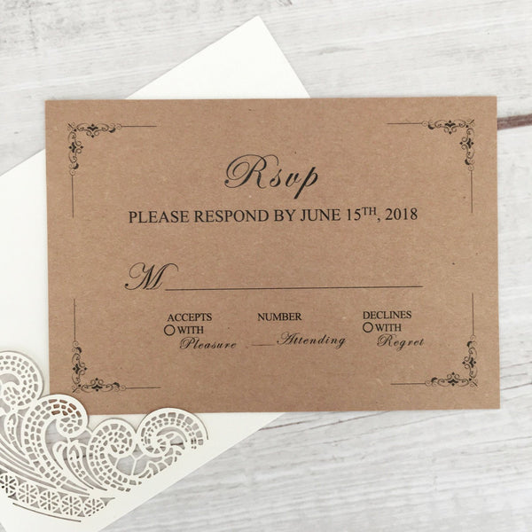 Picky Bride Rustic RSVP Cards with Return Envelopes, Wedding Invitations Response Cards for Wedding Pearl Laser Cutting Lace Covers Picky Bride
