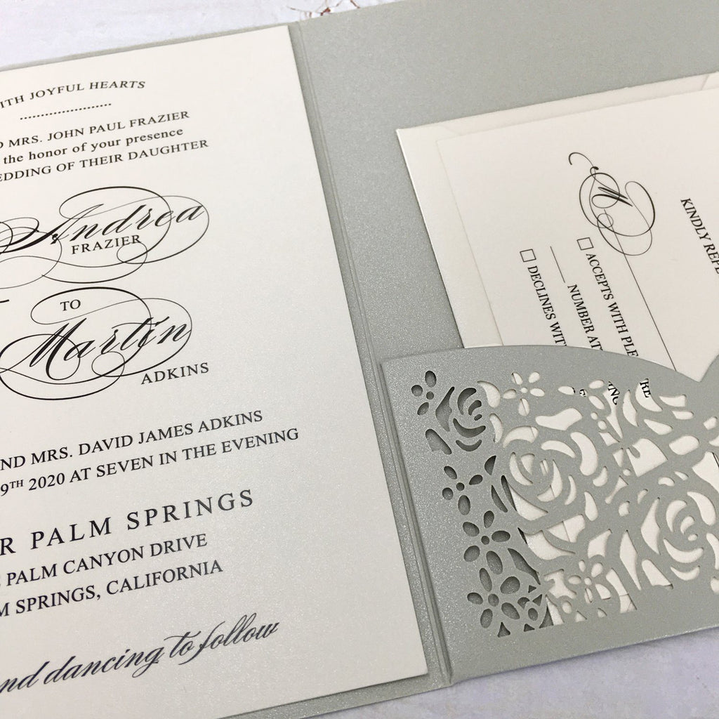 Picky Bride Silver Grey Wedding Invitations Laser Cut Wedding Invitations With RSVP Cards Picky Bride