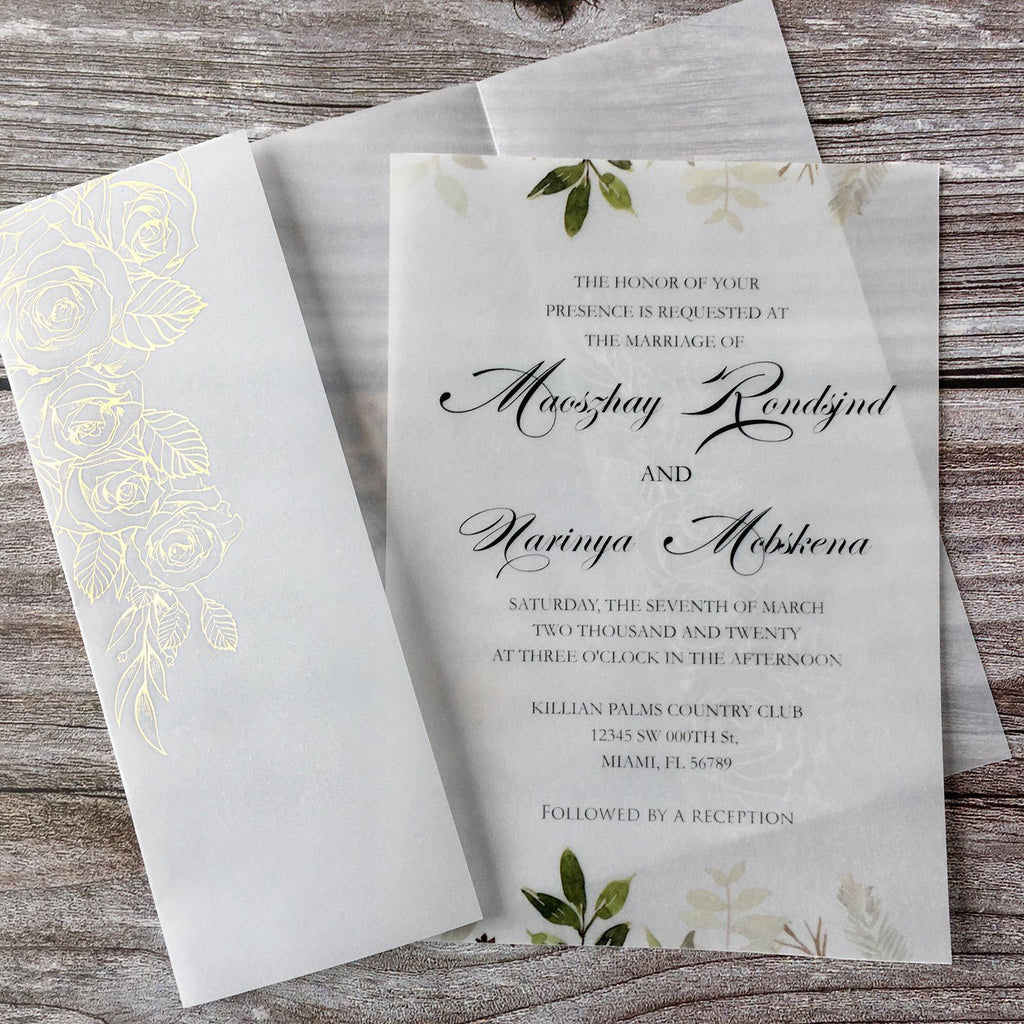 Picky Bride Vellum Wedding Invitations with Envelopes 5 x 7-inch Foil Vellum Invitations Bride Invite Picky Bride