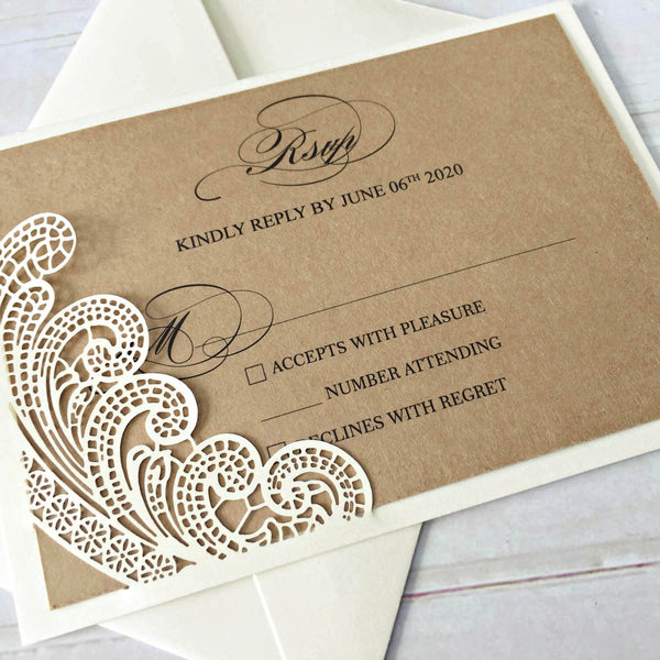 Picky Bride Vintage Wedding Invitations with Kraft Paper Envelopes Rustic Wedding Cards Customized Wording Picky Bride