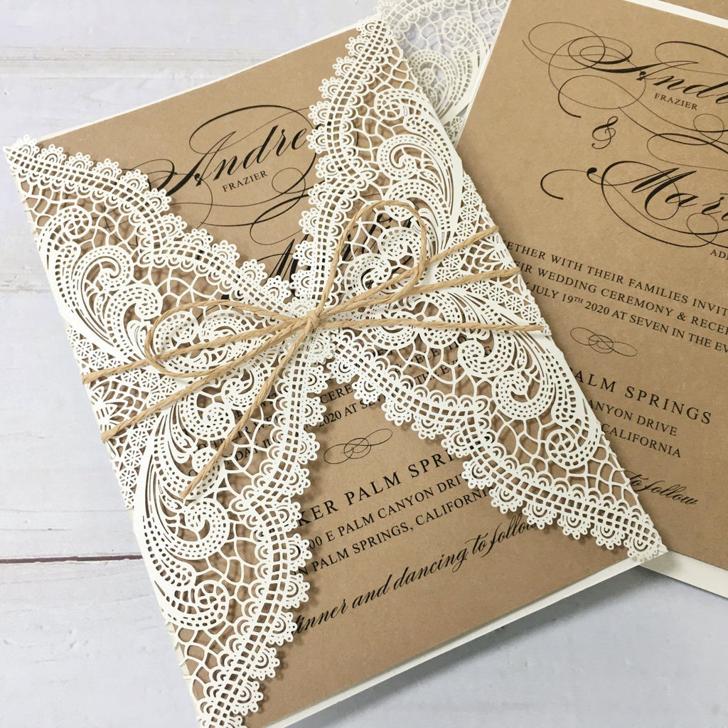 Rustic Rose Lace Personalised Wedding Day Save the Date Cards /& Envelopes