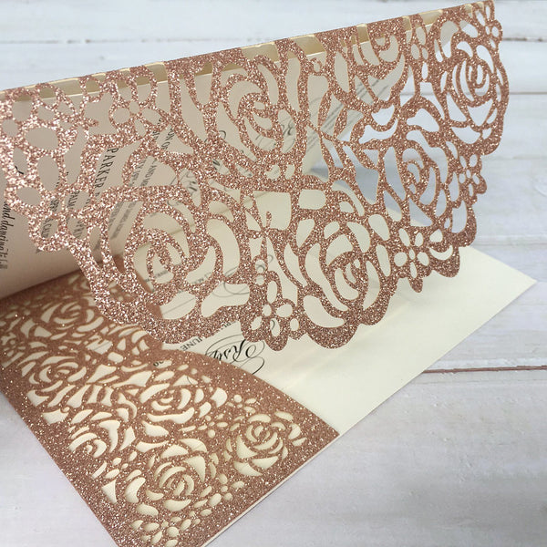 Picky Bride Wedding Invitations with Envelopes 5 x 7-inch, Lace Rose Gold Wedding Invitations With RSVP Cards Picky Bride