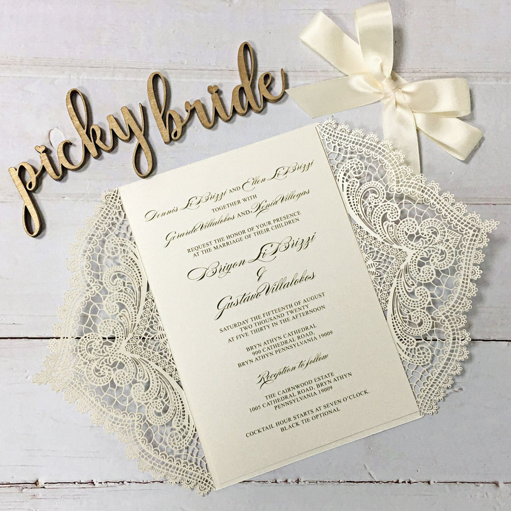 Picky Bride White Laser Cut Wedding Invitation with RSVP Cards Picky Bride