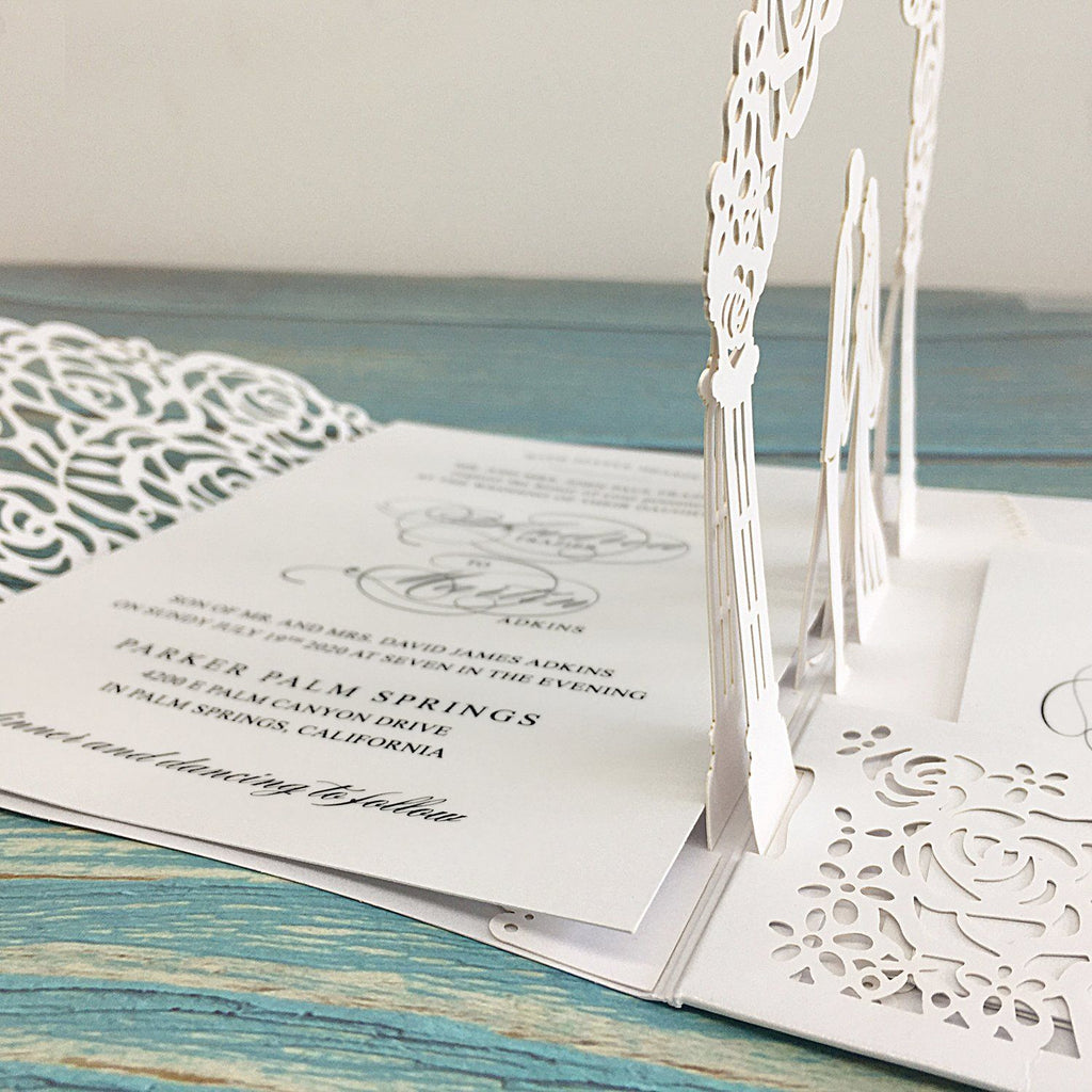 Picky Bride White Wedding Invitations, 3D Laser Cut Wedding Invitations With RSVP Cards Bridal shower Invitations Picky Bride