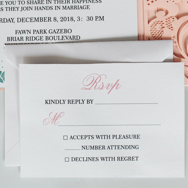 Pink Laser Cut Wedding Invitations Invites Card and RSVP Cards Picky Bride