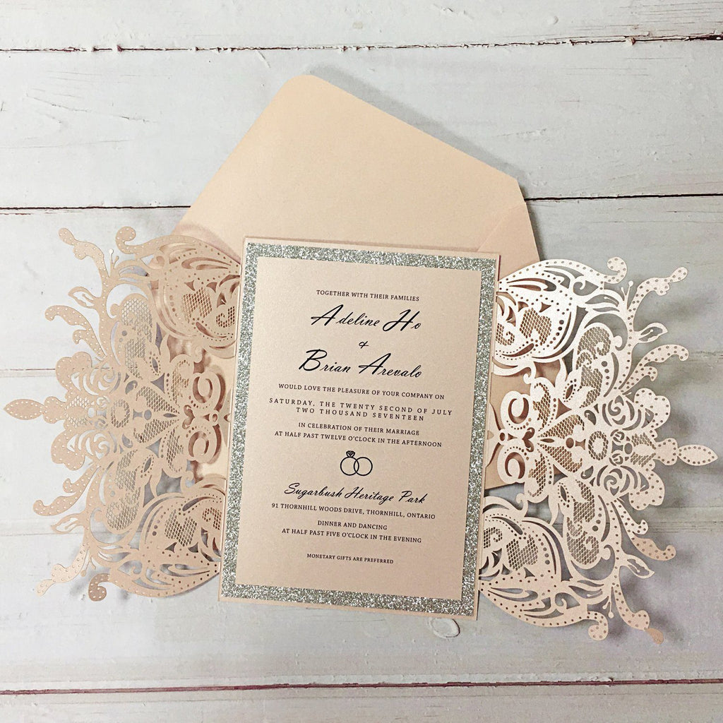 Pink Wedding Invitation, Lace Bridal Shower Invitations Picky Bride