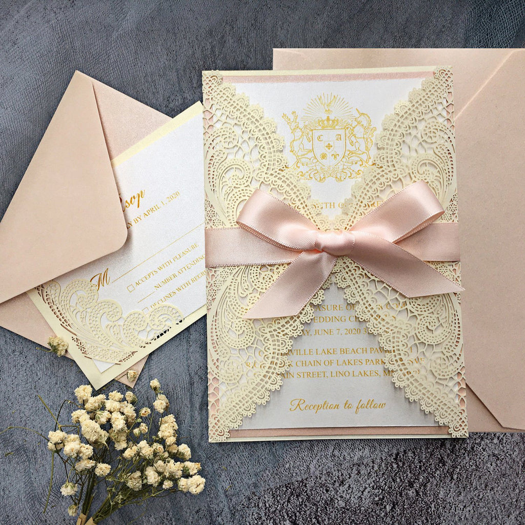 Pink Wedding Invitations with RSVP Cards Picky Bride