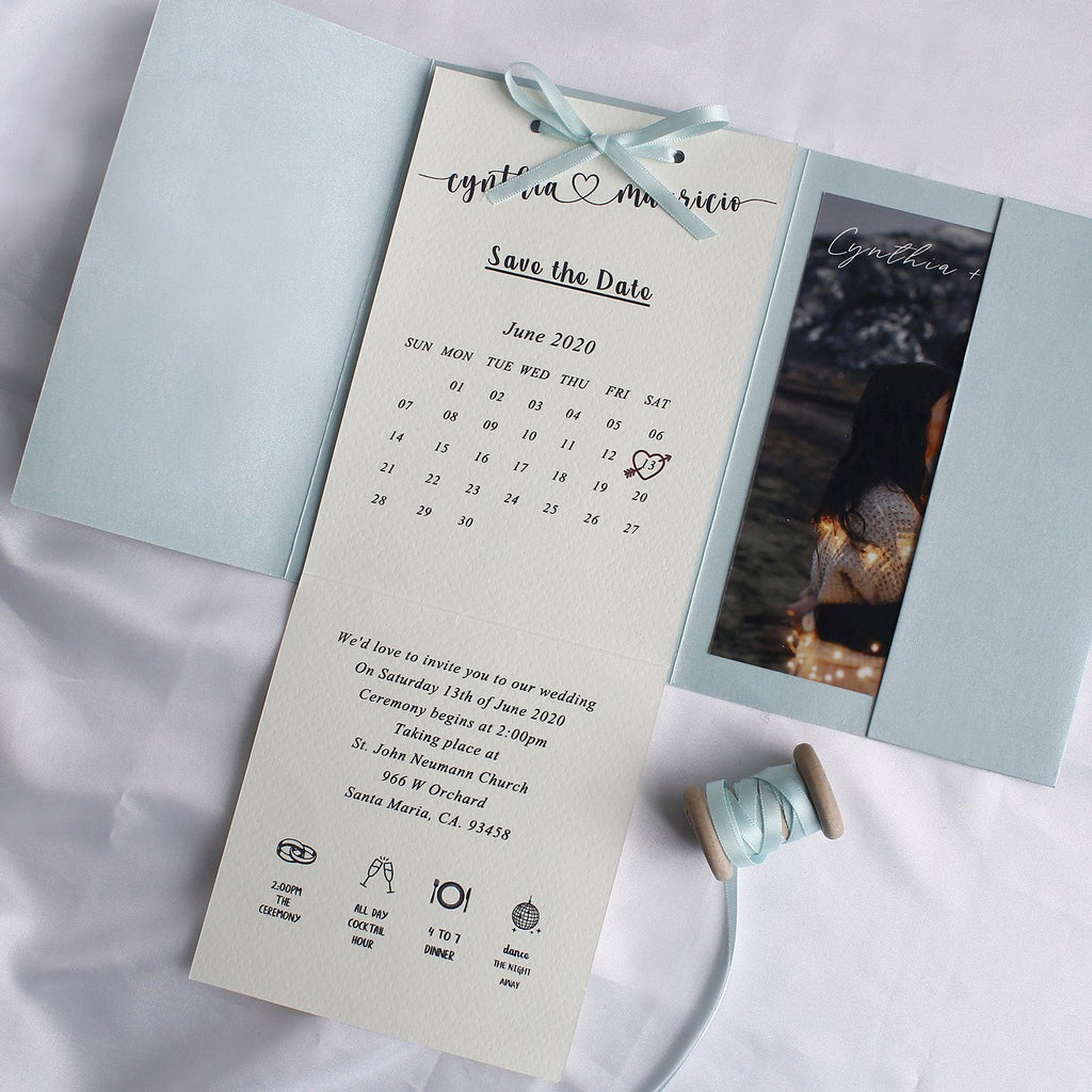 Pocket-fold Wedding Invitations, Handmade Paper Invitations with Ribbon Save the Date Picky Bride