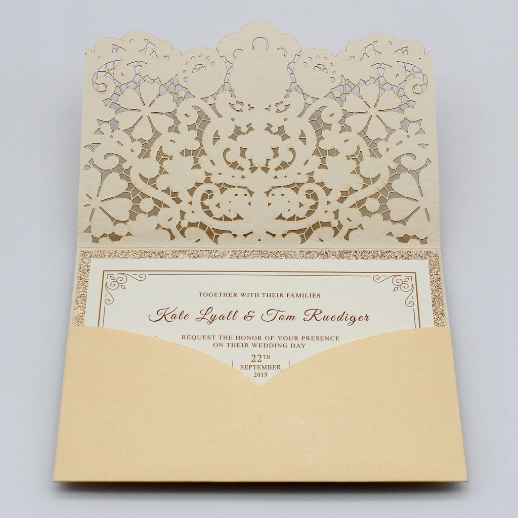 Pocket Gold Wedding Invitations Picky Bride
