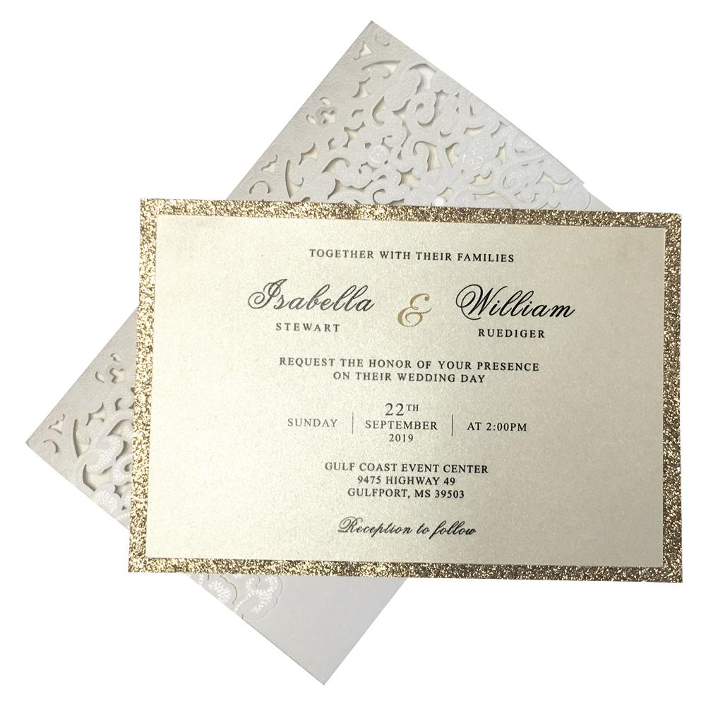 Pocket White Lace Wedding Invitation Cards, Bridal Shower Invitations Picky Bride