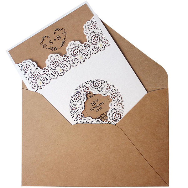 Pocket White Lace Wedding Invitations Pocket Invites Picky Bride