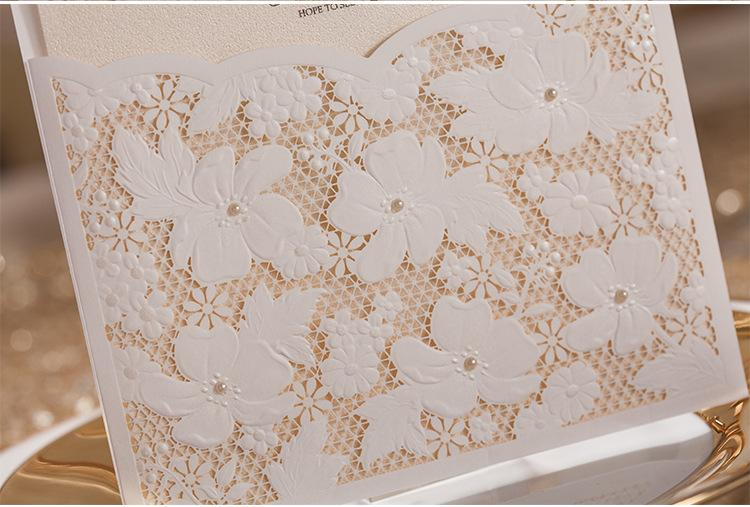Pure White Lace Wedding Invitation With Envelopes and Seals - Set of 50 Pcs Picky Bride