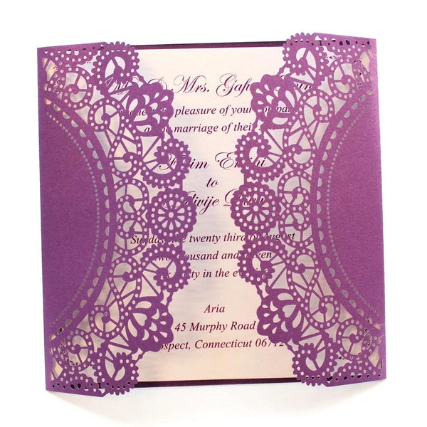 Purple Laser Cut Invitations Wedding Bridal Shower Elegant Wedding Theme Picky Bride