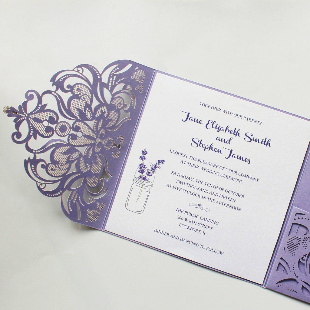 Purple Laser Cut Wedding Invitation Cards with RSVP Card Picky Bride