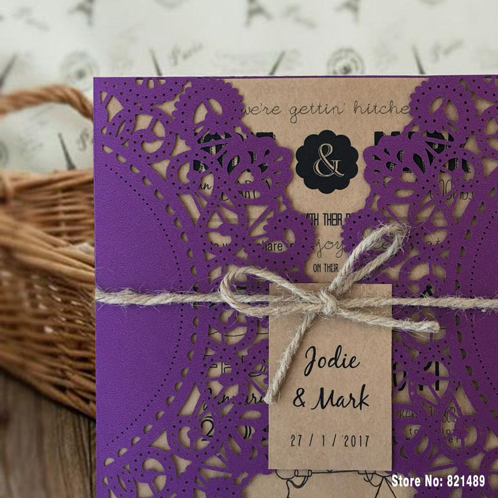 Purple Wedding Invitations, Rustic Wedding Invitation Cards Picky Bride